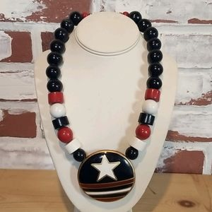 Red White & Blue Wood Necklace Vintage